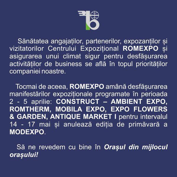 ROMEXPO amână desfășurarea manifestărilor expoziționale din perioada 2- 5 aprilie 2020